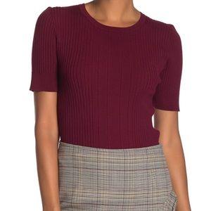 Trina Turk Lila Ribbed Short Sleeve Rib Knit Top